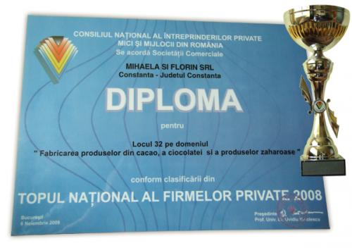 """Topul national al firmelor private """"Top 2008"""" - Locul 32 pe tara din 659.446 de firme"""